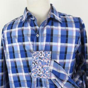 Robert Graham 1XLT Floral Flip Cuff Shirt Plaid LS